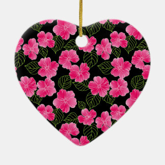 Shiny bright pink flowers with green leaves ceramic heart decoration