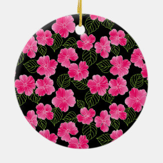 Shiny bright pink flowers with green leaves christmas ornament