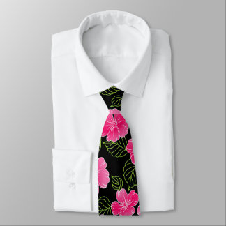 Shiny bright pink flowers with leaves on black tie