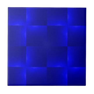 shiny checks inky blue small square tile