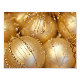 Shiny Christmas Glittered Ornaments - Gold Photographic Print