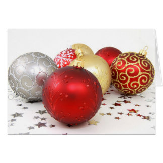 Shiny Christmas Glittered Ornaments - Gold Red Card