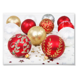 Shiny Christmas Glittered Ornaments - Gold Red Photograph