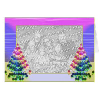 Shiny Christmas Tree Greetings (photo frame) Greeting Card
