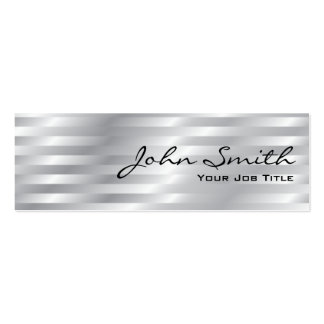 Shiny Chrome Stripes Mini Business Card