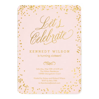 Shiny Confetti Editable Color Party Invitation