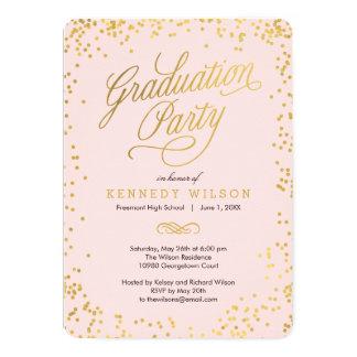 Shiny Confetti Graduation Party Invitation Pink