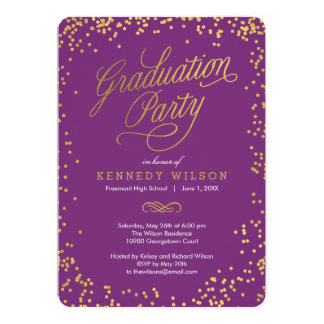Shiny Confetti Graduation Party Invitation Plum