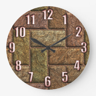 Shiny digital bricks pattern bronze and copper clock