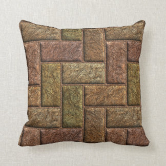 Shiny digital bricks pattern bronze and copper cushion