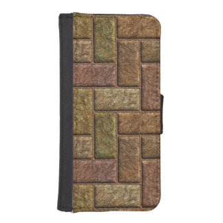 Shiny digital bricks pattern bronze and copper iPhone 5 wallet case