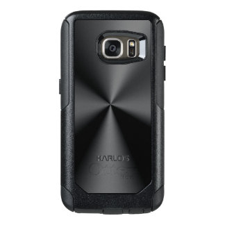 Shiny Faux Black Metallic Stainless Look OtterBox Samsung Galaxy S7 Case