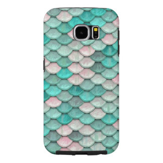 Shiny Fish Scales Effect Pattern Green Pink Samsung Galaxy S6 Cases