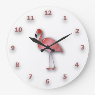 Shiny Flamingo With Pink Numbers Large Clock