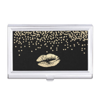 Shiny Foil Confetty Or Diamond ,Lips-Personalized Business Card Holder