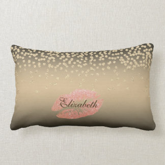 Shiny Foil Confetty Or Diamond ,Lips-Personalized Lumbar Pillow