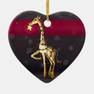 Shiny Giraffe Ceramic Heart Decoration