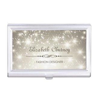 Shiny Glitter and Sparkling Bokeh Business Card Holder