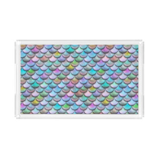 Shiny glossy pearlescent colorful mermaid scales acrylic tray