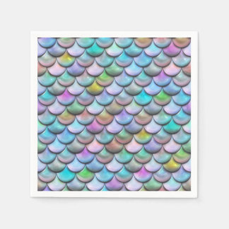 Shiny glossy pearlescent colorful mermaid scales disposable napkin