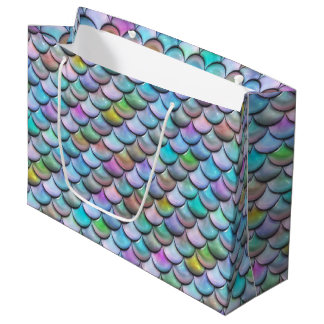 Shiny glossy pearlescent colorful mermaid scales large gift bag