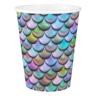 Shiny glossy pearlescent colorful mermaid scales paper cup