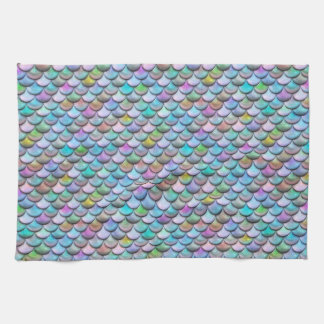 Shiny glossy pearlescent colorful mermaid scales tea towel