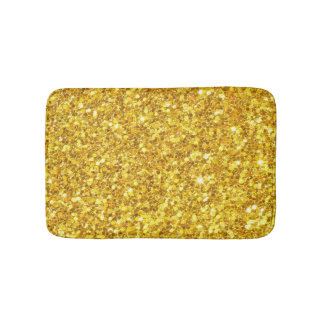 Shiny Gold And White Glitter Bath Mat