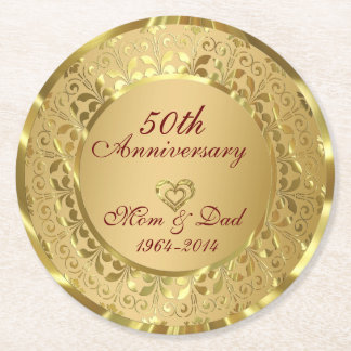 Shiny Gold Damask 50th Wedding Anniversary Round Paper Coaster