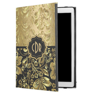 "Shiny Gold Damasks On Black Background GR2 iPad Pro 12.9"" Case"