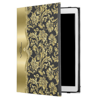 "Shiny Gold Floral Damasks Black Background iPad Pro 12.9"" Case"