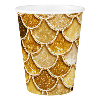 Shiny Gold Glitter Mermaid Scales Paper Cup