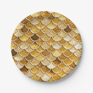 Shiny Gold Glitter Mermaid Scales Paper Plates