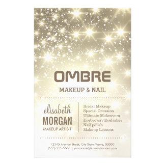 Shiny Gold Glitter Sparkles Beauty Salon 14 Cm X 21.5 Cm Flyer