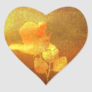 Shiny Gold Ink Paper Romantic Imprinted Rose Heart Sticker