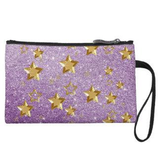 Shiny Gold Stars SoftPurple FauxGlitter MiniClutch Wristlet Clutch