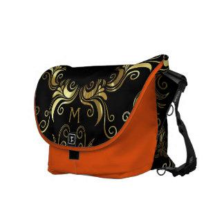 Shiny Gold Vintage Swirls On Black Commuter Bag