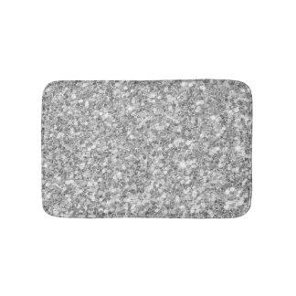 Shiny Gray And White Glitter Bath Mats