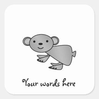 Shiny gray koala square sticker