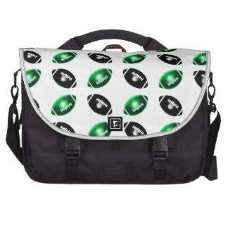 Shiny Green and Black Football Pattern Laptop Bag
