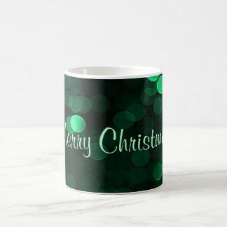 Shiny Green Christmas Lights Bokeh Merry Christmas Coffee Mug