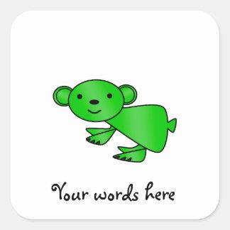 Shiny green koala square sticker