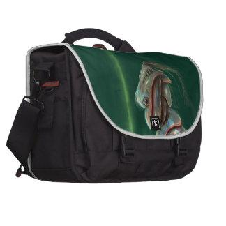 shiny green robot Laptop Bags