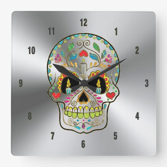 Shiny Grey Stainless Steel & Colourful Floral Square Wall Clock