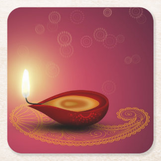 Shiny Happy Diwali Diya - Paper Coaster