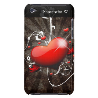 Shiny Heart with Swirly Grunge Background Barely There iPod Case