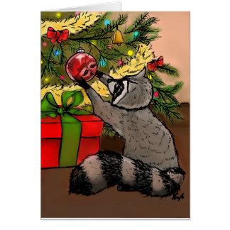 Shiny Holiday Raccoon Card