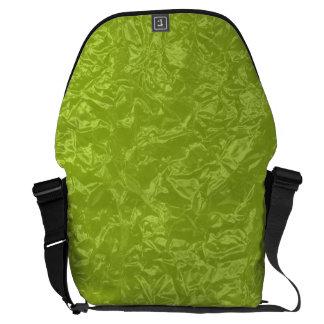 Shiny lime green wrinkled texture messenger bag
