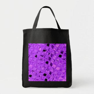 Shiny Metallic Amethyst Diamond Reusable Black Grocery Tote Bag