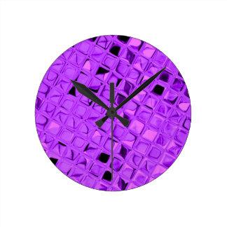 Shiny Metallic Amethyst Purple Grape Diamond Round Clock
